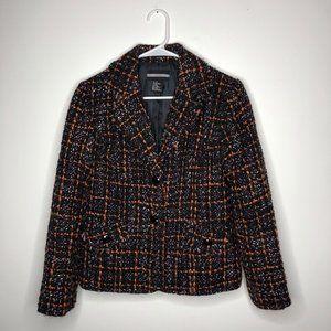 Requirements Womens Orange & Black Notch Lapel Boucle Tweed Blazer Size 10